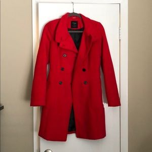 Double breasted Zara coat in Red